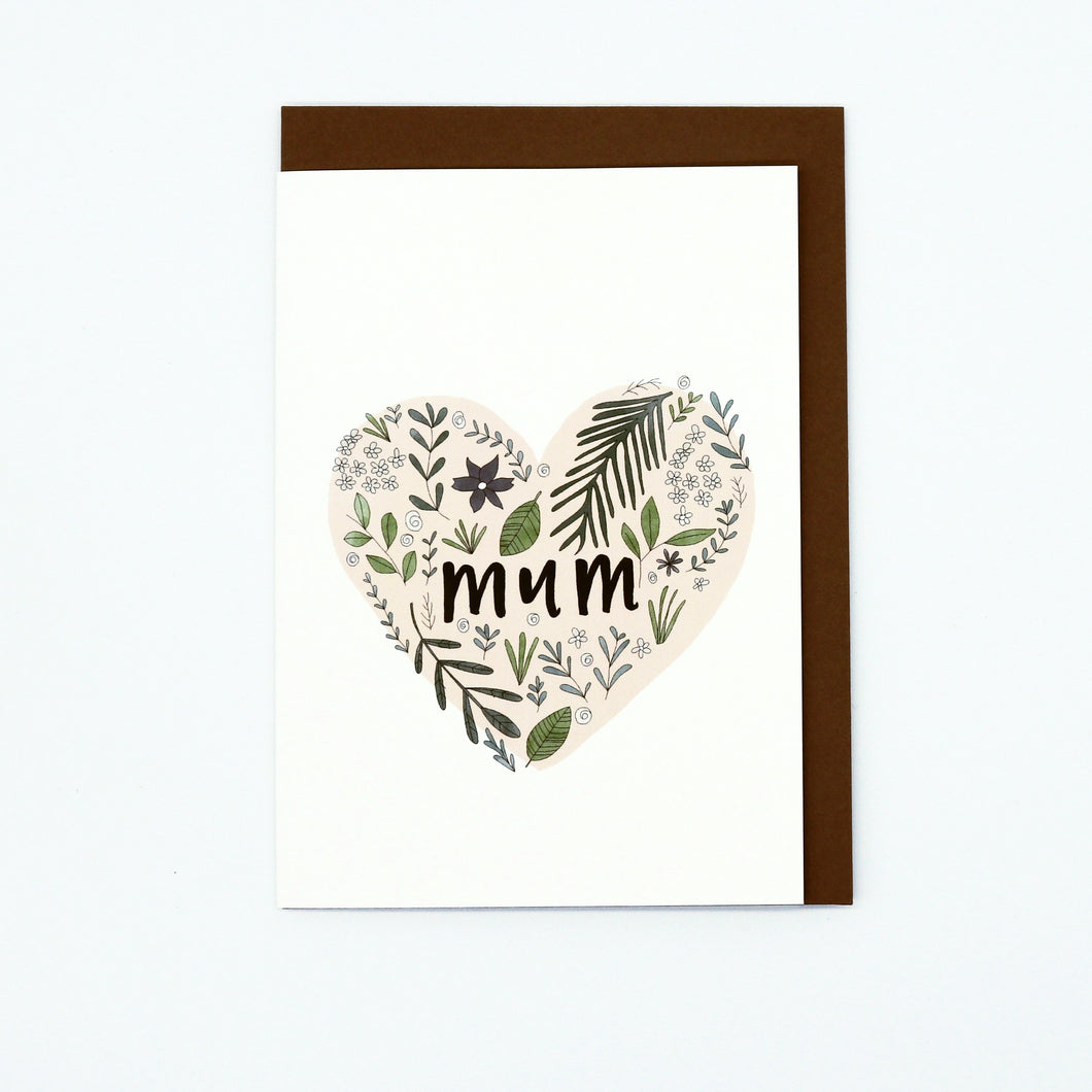 Mum Floral Heart Greeting Card