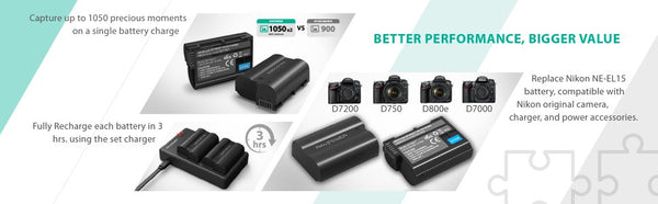 Gadget King Singapore / RAVPower Singapore / RAVPower 2100mAh Rechargeable Battery and Charger Set for NIKON EN-EL15  / RP-PB057