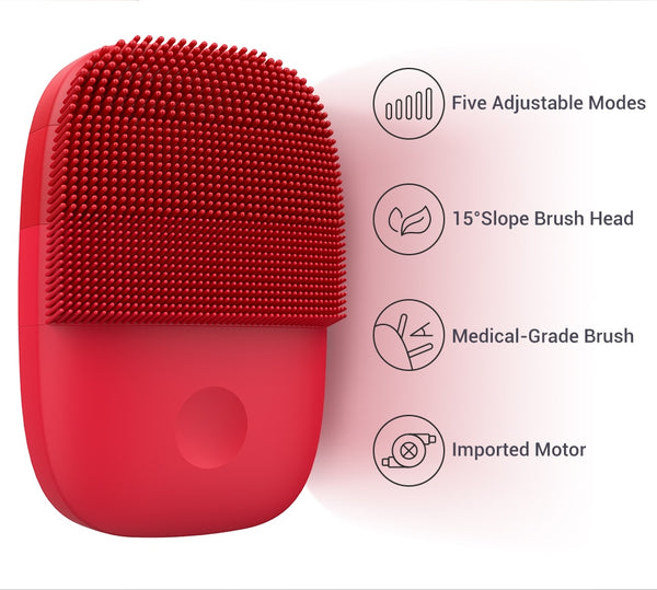 [Inface] Facial Cleansing Brush Electric Sonic Silicone Face Brush Deep Cleansing Facial Cleanser [Upgrade Version]