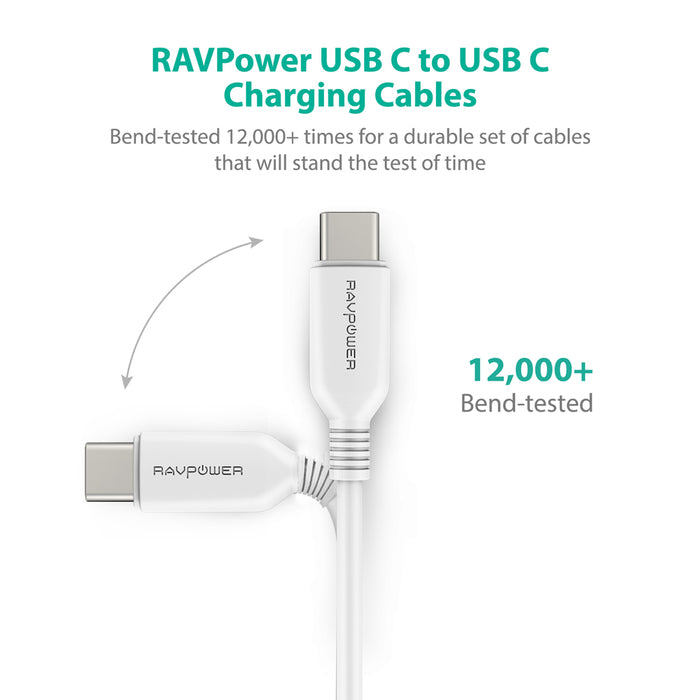 2-Pack Type-C to Type-C Cables (White/Black) [RAVPower RP-CB009]-Cables-RAVPower-Gadget King Pte. Ltd.