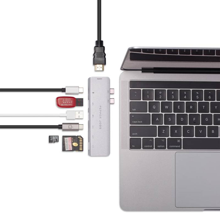 "Dual USB-C Hub with 4K HDMI output for MacBook Pro 13""/15 (2016-2018) [TCH-MBP7]"