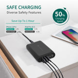 5-Port Dual USB-C PD Charger with USB-C PD 3.0/PPS charging ports (100W max., QC compatible) and three USB-A charging ports (36W max. total)