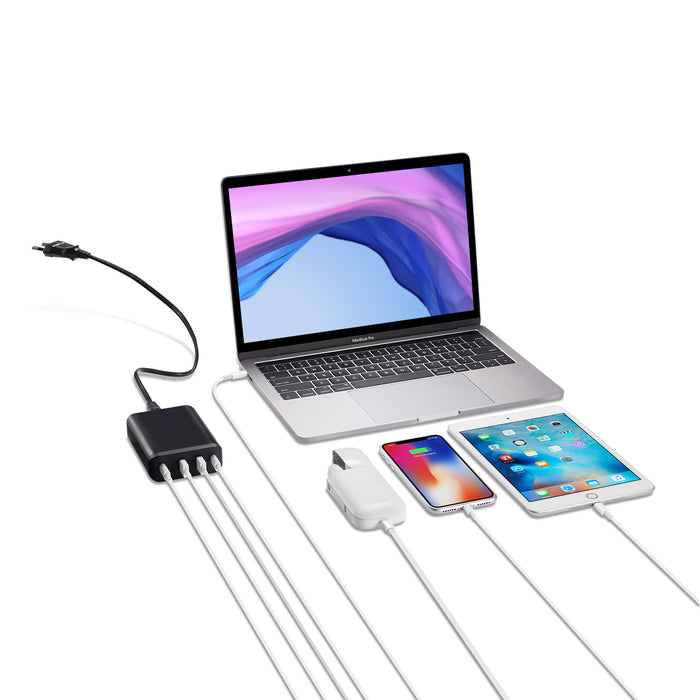4-port Dual USB-C PD Charger incorporates two USB-C PD 3.0 charging [PD9000]