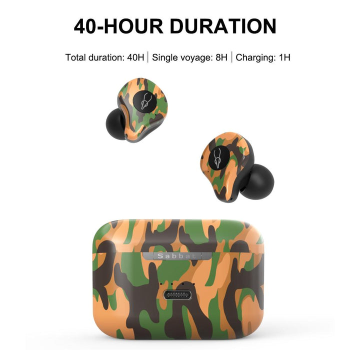 E12 Ultra Build-in Qualcomm Chip, True Wireless Bluetooth 5.0,Wireless Charging Case ,Sporty HiFi Stereo Noise Canceling Earphones (Camouflage Series)