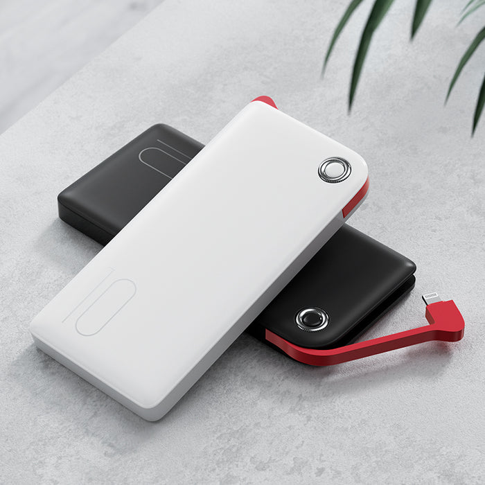 [Benks] 10000mAh Slim lightweight Modern design with MFi-certified build in cable and supports 18w Type C input/output two ways fast charging(PBM01)