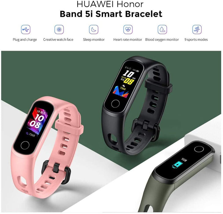 [Huawei] Honor Band 5i 0.96 inch Smart Bluetooth Bracelet SpO2 Blood Oxygen Detection 24-Hour Heart Rate Monitoring Huawei TruSleep 3.5 All-in-One Activity Tracker 5ATM Waterproof (Global Version)
