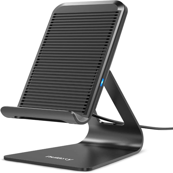[Nulaxy] Wireless Charger, Adjustable Aluminum Wireless Charging Stand, 7.5W for iPhone 11 Pro/Xs Max/XS/XR/X/8, 10W Charges Galaxy S9/S9+/Note 9/Note8, 5W Charges All Qi-Enabled Phones (No AC Adapter)