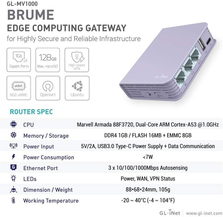 Brume Edge Computing Gigabit VPN Gateway, DDR4 1GB, Flash 16MB, EMMC 8GB, MicroSD Storage Support, OpenWrt/LEDE pre-Installed, 280Mbps High VPN Performance, Cables Included (GL-MV1000)