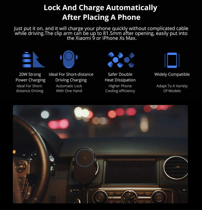 [Xiaomi] Build in infrared sensor Wireless Car Charger 20W fast charging support for Xiaomi Mi 9, Mix 2S, and Mix 3 & 7.5W fast charging for Qi-compatible smartphones
