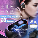 [QCY] Bluetooth 5.0 Headset,Mini Binaural HD Call Earphone with Charging Case Hi-Fi Sound Quality Waterproof Portable for Sports Running (T1C)