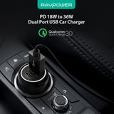 RAVPower 18W Power Delivery Type-C (Combined Total 30W) Dual Port Car Charger [RP-PC090]
