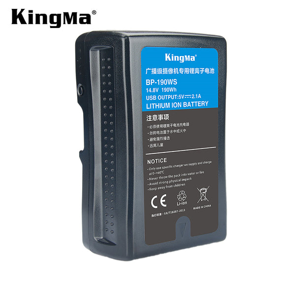 [KingMa] Battery BP-190WS / BP190WS / BP-190 / BP190 / BP-190W / BP190W / V-Mount / V Mount 13200mAh / 190Wh V Mount / V-Lock Battery Compatible with Sony Camera Camcorder Broadcast Replacement Brick for DSLR