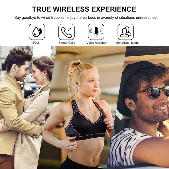 E12 Ultra Build-in Qualcomm Chip, True Wireless Bluetooth 5.0,Wireless Charging Case ,Sporty HiFi Stereo Noise Canceling Earphones (Marble Series)
