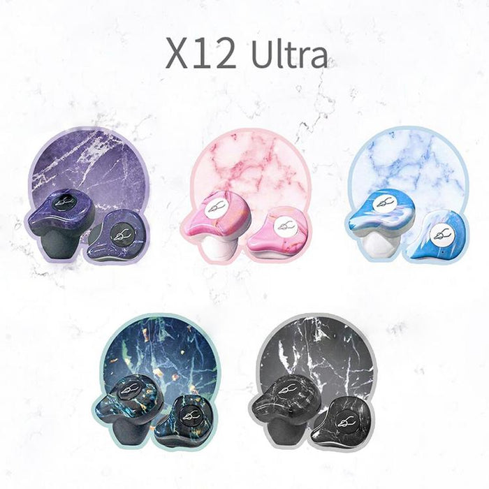 X12 Ultra True Wireless Bluetooth 5.0 ,Built-in Qualcomm Chip Earbuds (Marble Series)
