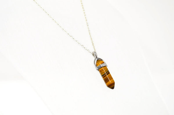 Genuine Tiger's Eye Gemstone Point Necklace. - Choose Length.