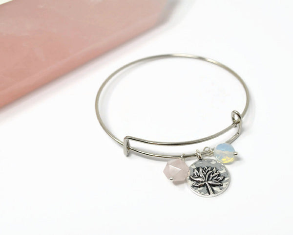 Rose Quartz Fertility Charm Bracelet. Silver Plated Lotus Charm Bangle. Adjustable.
