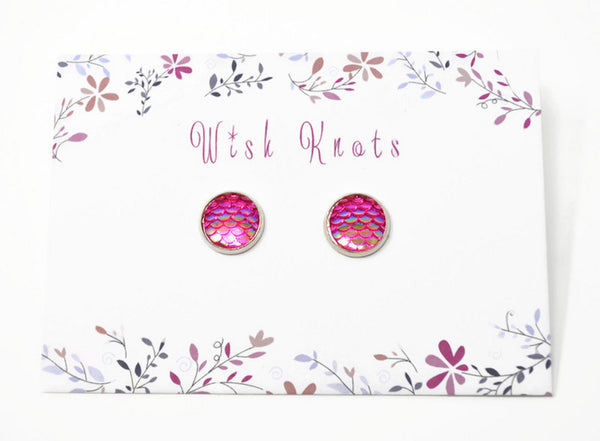 Mermaid Tail Earrings - Hot Pink Mermaid Silver Plated Studs.