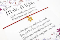 Wish Bracelet - Gold Star Charm Bracelet. Tiny Gold Star Bracelet. Choice of Colours