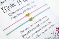 Pair of Gold Heart Wish Bracelets - Set of 2 Friendship Bracelets - Choice of Colours.