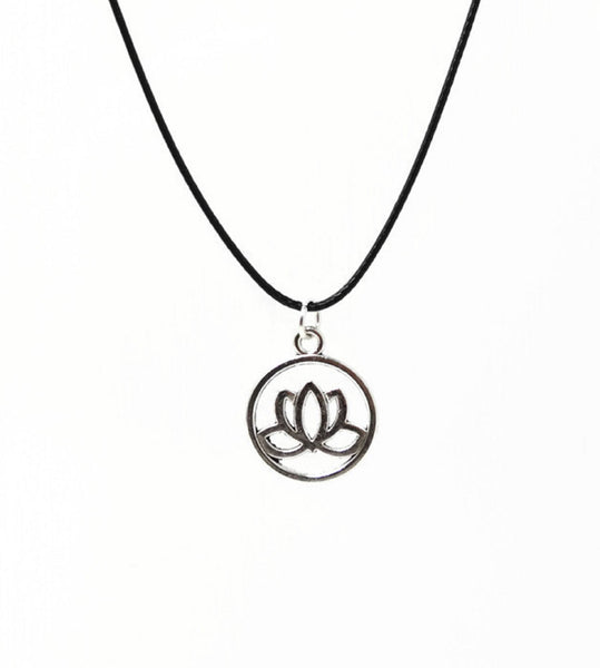 Silver Lotus Blossom Necklace. Lotus Flower Pendant - Adjustable Black Cotton Cord.