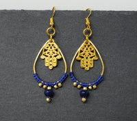 Genuine Lapis Lazuli Earrings - Hamsa Hand Teardrop Macrame Earrings