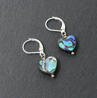Genuine Abalone Shell Heart Earrings - Silver Plated Lever Back Earrings