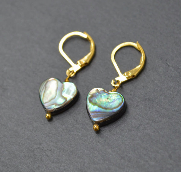 Genuine Abalone Shell Heart Earrings - Gold Plated Lever Back Earrings