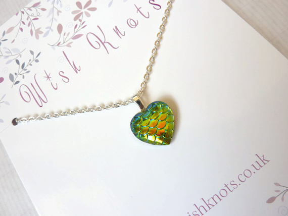 Green Dragon Heart Necklace - Mermaid Tail Pendant. Mermaid Scale Heart.