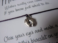 Wish Bracelet - Baby Feet Charm. Mum to be Gift. Baby Shower. Pregnancy announcement. Choice of Colours