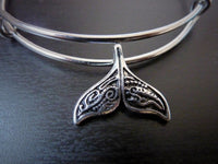 Maori Whale Tail Charm Bangle - Whale Tail Stacking Bangle.