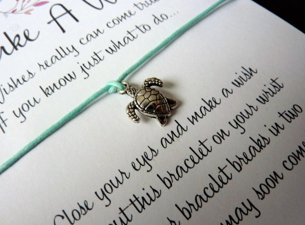 Wish Bracelet - Small Turtle. Sea Turtle Good Luck Charm. Choice of colours