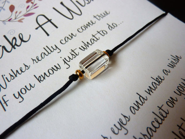 Wish Bracelet - Rock Crystal Gemstone. Birthstone Bracelet.