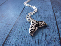 Whale Tail Necklace - Silver Whale Tail Pendant. Layering Necklace. Maori Whale Tail.