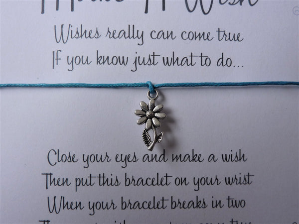 Wish Bracelet - Daisy Charm. Flower Bracelet. Choice of Colours