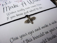 Wish Bracelet - Honey Bee Charm. Choice of Colours