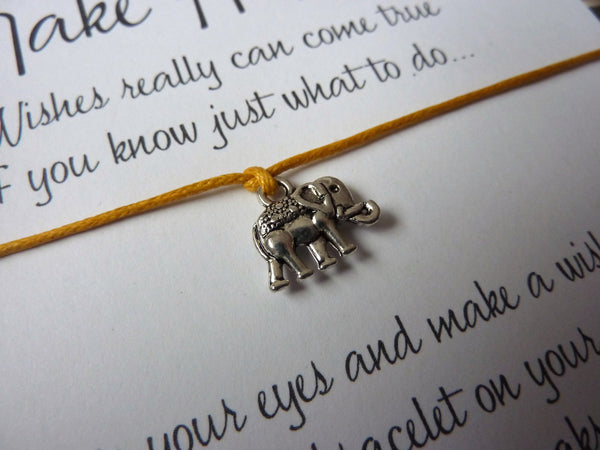 Wish Bracelet - Elephant Charm. Lucky Elephant Stacking Bracelet. Choice of Colours