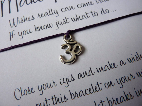 Wish Bracelet - Ohm Meditation Bracelet. Ohm Charm Bracelet. Choice of Colours.