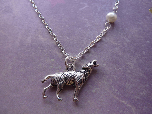 Howling Wolf & Moon Necklace - with Genuine Freshwater Pearl.