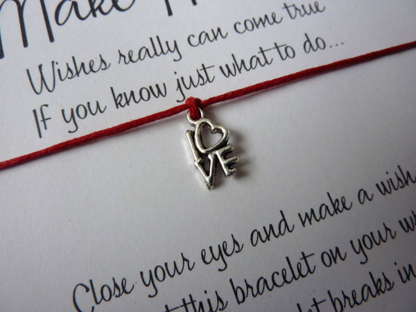 Wish Bracelet - Love Heart charm. Choice of colours.