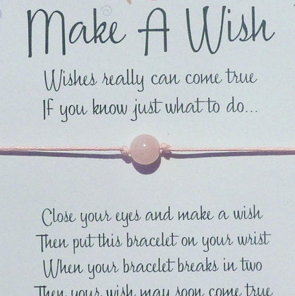 Wish Bracelet - Rose Quartz Friendship Bracelet. Fertility Healing Bracelet