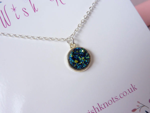 Black Rainbow Druzy Necklace - Faux Druzy Pendant. Choice of Length.