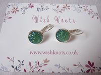 Green Stardust Druzy Earrings - Silver Plated Leverback Earrings.