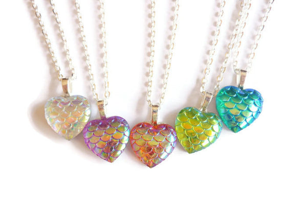 Mermaid Tail Heart Necklace - Dragon Scale Pendant. Choice of Colours.