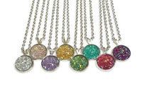 Stardust Necklace - Faux Druzy Pendant. Silver Plated Chain, Choose Length. Choice of Colours