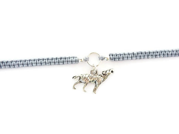 Wolf Bracelet - Wolf Charm Macrame Bracelet. Choice of Colours.
