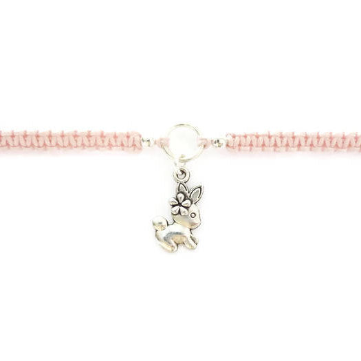 Rabbit Bracelet - Bunny Macrame Charm Bracelet. Friendship Bracelet. Stacking Bracelet. Choice of Colours.
