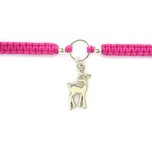 Deer Bracelet - Doe Macrame Charm Bracelet. Friendship Bracelet. Stacking Bracelet. Choice of Colours.