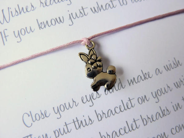 Wish Bracelet - Bunny Rabbit Charm. Easter Gift. Spring. Choice of Colours