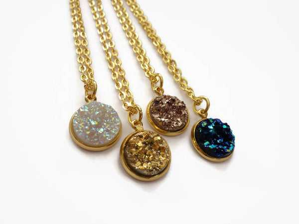 Druzy Necklace - Gold, Rose Gold, Opal or Black Faux Druzy Pendant. Choice Chain Length