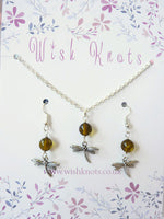 Dragonfly Genuine Amber Necklace & Earrings Set - Dragonfly In Amber. Outlander